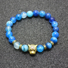 Buy 2016 Fashion jewelry Natural stone leopard 8mm beads bracelet men elastic rope chain charm bracelet for women Pulseras mujer for $1.38 in AliExpress store