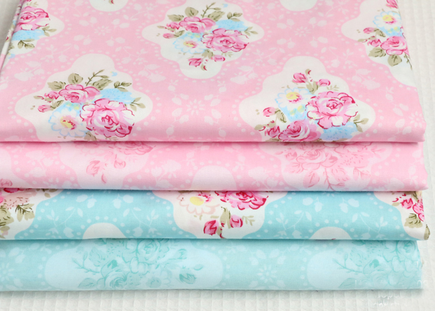 Pretty Spring Garden Pink Blue Flowers Printed Cotton Fabric Bundle 24x25cm(China (Mainland))