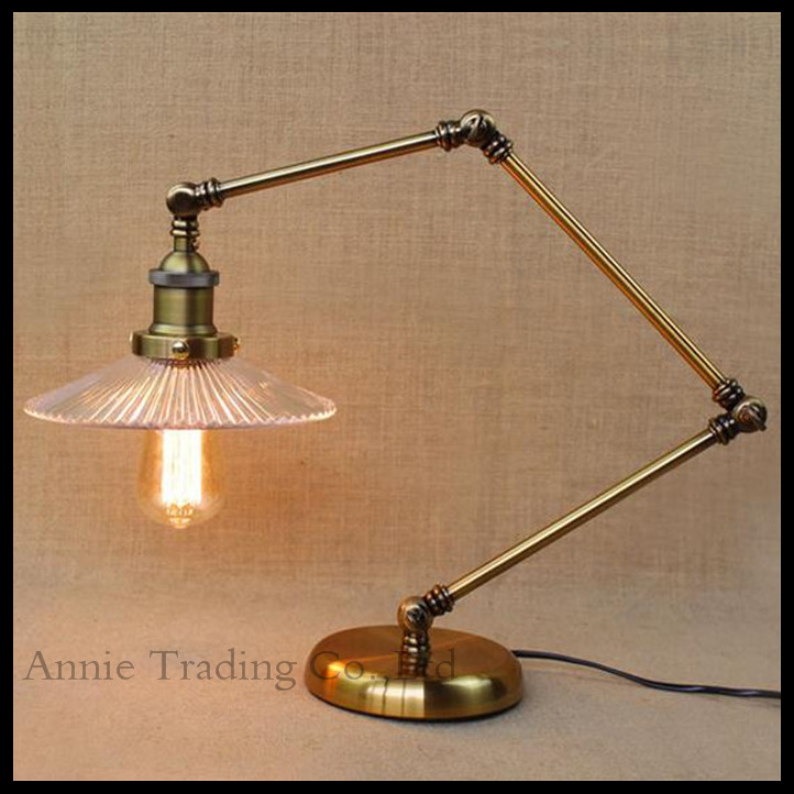 Здесь можно купить  AC100-240V RH vintage industrial glass shade study Office living dining room bedroom bronze grade decorative table desk lamp  Свет и освещение