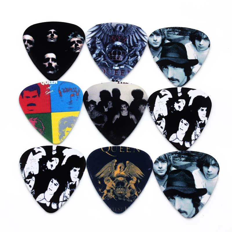 10pcs 0.71mm guitar accessries high quality two side earrings pick DIY design Rock Band Queen pick guitar picks(China (Mainland))
