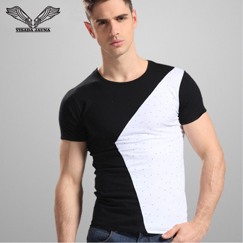 Men's Tee Shirts Fashion Style 2016 New O-Neck Short Sleeve Patched Contrast Color Slim Fit Cotton T shirts Plus Size XXXL N626
