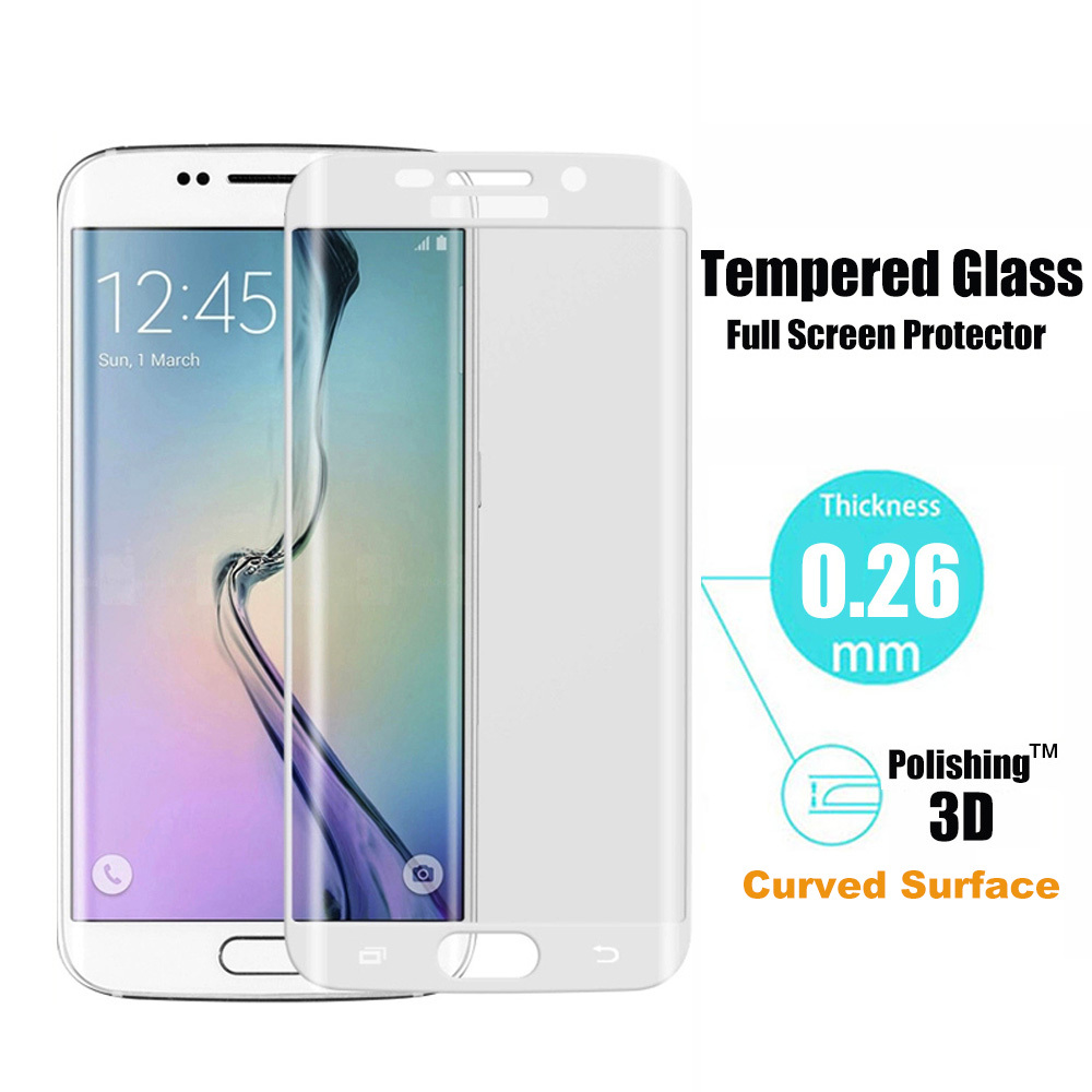 White 0.26mm 9H Surface Hardness 3D Curved Surface Full Screen Cover Tempered Glass Film for Samsung Galaxy S6 edge(China (Mainland))