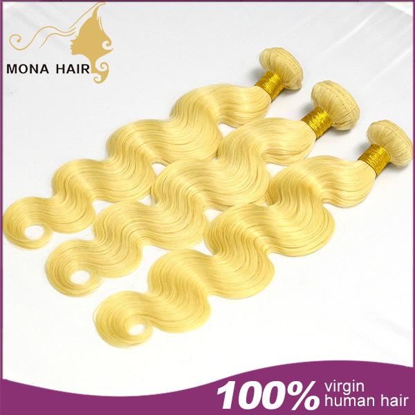 "7a #613 blonde brazilian hair body wave 100g bundle 3pcs tangle & shedding free dyeable virgin hair extension 10""-30"" availabled(China (Mainland))"