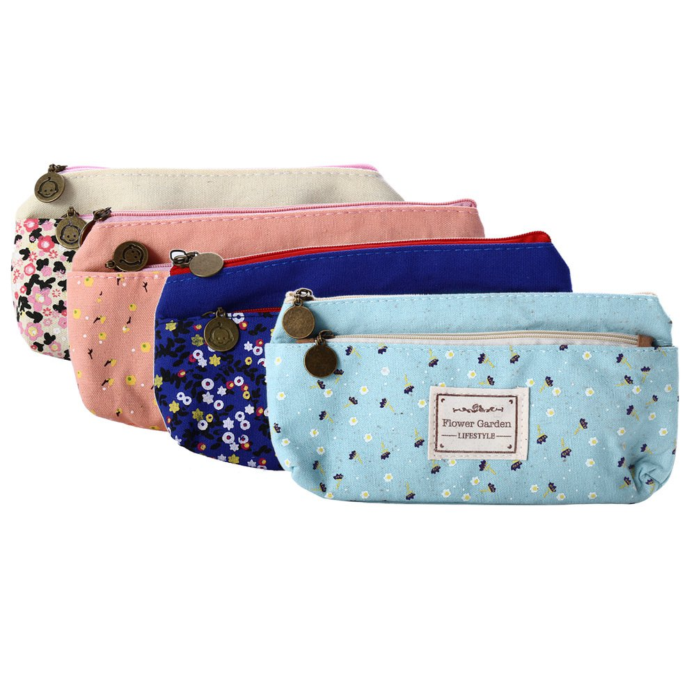 New Flower Garden Floral Canvas Pen Pencil Case Portable Double Zipper Cosmetic Stationery Storage Pouch Bag School Supplies(China (Mainland))