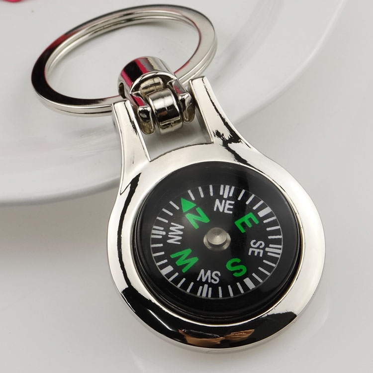 Hot-selling small compass keychain gift multifunctional male women's compass key ring logo(China (Mainland))