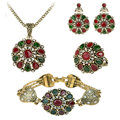 4Pcs Crystal Flower Necklace Sets Fashion Earing For Women 2016 Wedding Jewelry Turkish Combination Nigerian Red