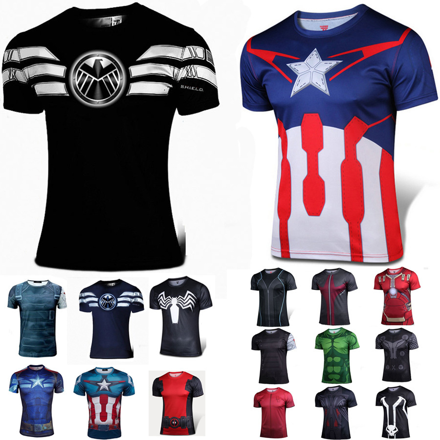 Captain America T shirt Marvel Ultron Hulk Daredevil Thor Quciksilver Nightwing Deadpool Thor Ironman Spiderman Avenger Costume(China (Mainland))