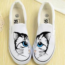 Flats Canvas shoes 2016 New Graffiti Hand-painted  Casual Shoes Leisure Woman / Man free Picture One Size women's shoes 34-44(China (Mainland))