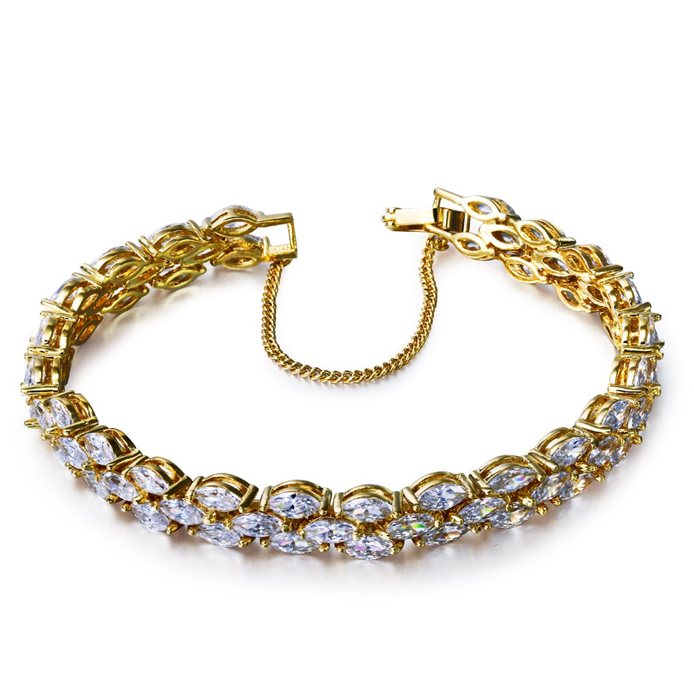Party dresses Bracelet gold plated with white cz charming Bracelets for women new design Free shipment(China (Mainland))