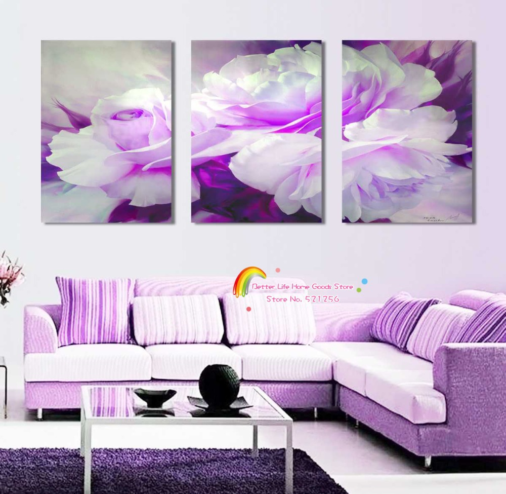 Modern Wall Art Home Decoration Printed Oil Painting Pictures No Frame 3 Panel Large Abstract Purple Flower Living Room Prints(China (Mainland))