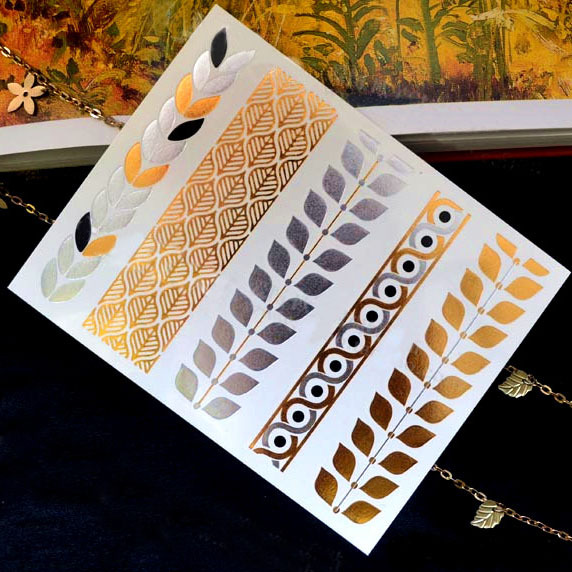 Leaves Metal gold silver temporary tattoo sticker ring bracelet necklace arm band pendant leg jewelry.34.21963.Free shipping(China (Mainland))