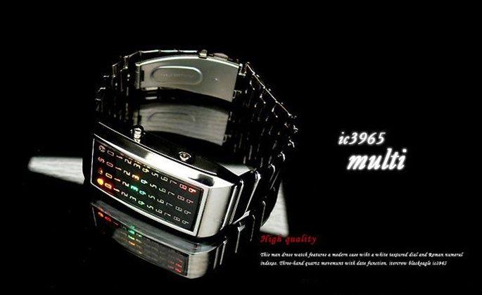 Tokyo Flash LED Dot Matrix Unique Watch Silver Christmas Gift(China (Mainland))