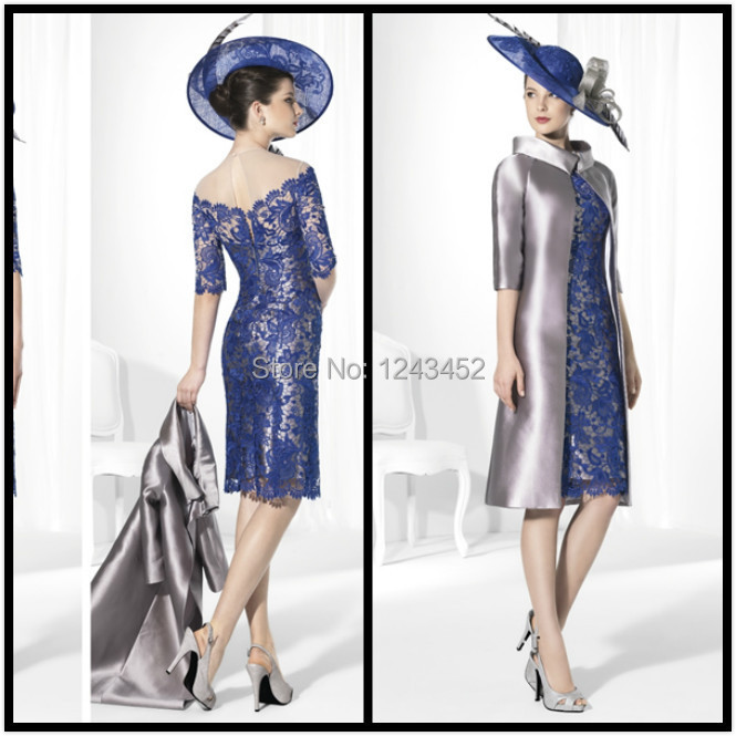 Vestidos blue silver lace winter mother of the bride groom for Dresses for mother of the bride winter wedding