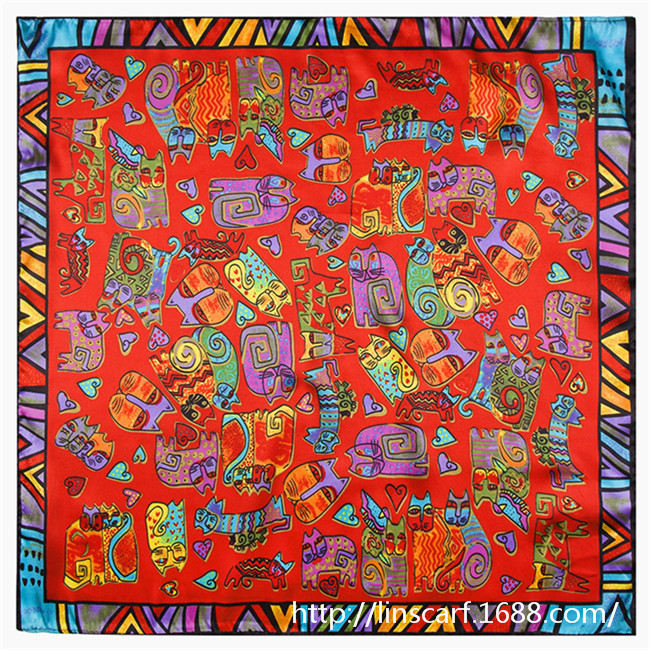 Korean version of the explosion models cute painting Women Silk painted cat small square silk scarf wholesaleОдежда и ак�е��уары<br><br><br>Aliexpress