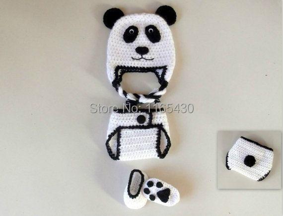 Panda Bear Earflap Hat Crochet Pattern : Free shipping!! Panda Bear Baby Set CROCHET PATTERN Beanie ...