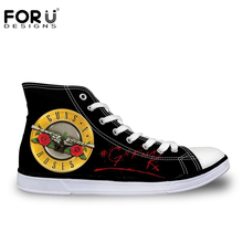 FORUDESIGNS Hot Guns N Roses Pattern Printed Shoes for Women Fashion High Top Canvas Shoes Casual Breathable Vulcanization Shoes(China (Mainland))
