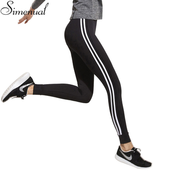 Fitness athleisure women leggings 2016 new arrival striped slim splice black long leggins clothes ladieswear legging ladieswear