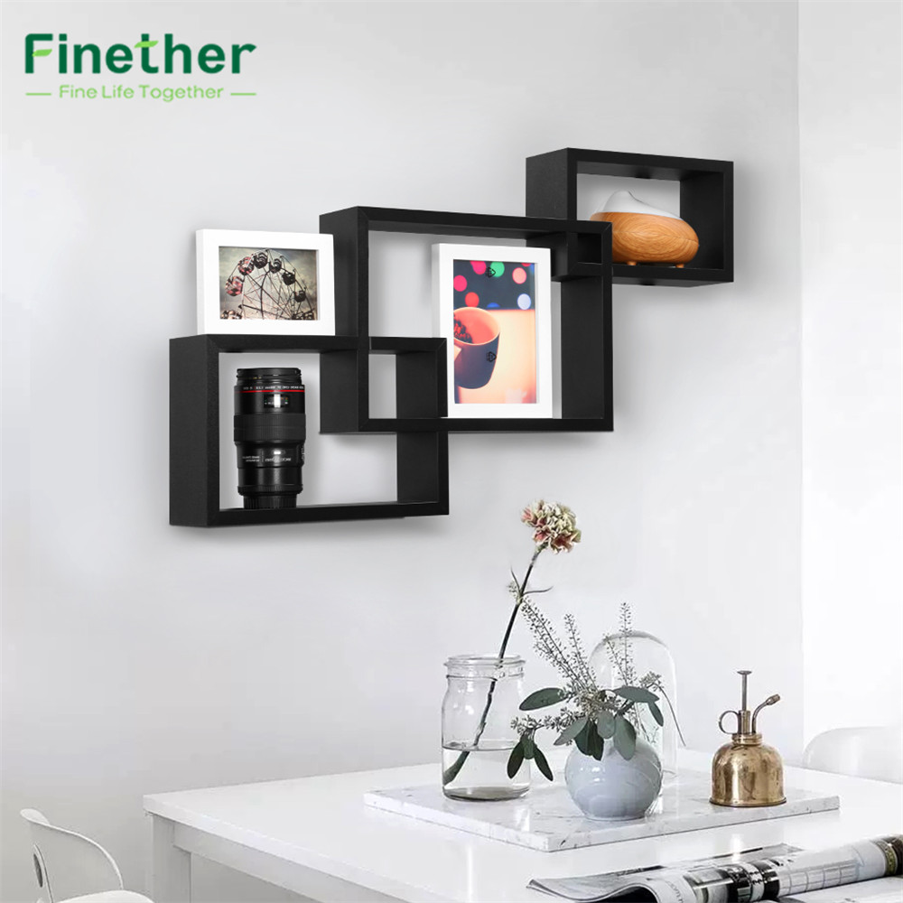 Finether 3-Piece Intersecting Rectangular Floating Wall Shelves Wall Mounted Bookcase Storage Display Organizer,book safe, Black(China (Mainland))