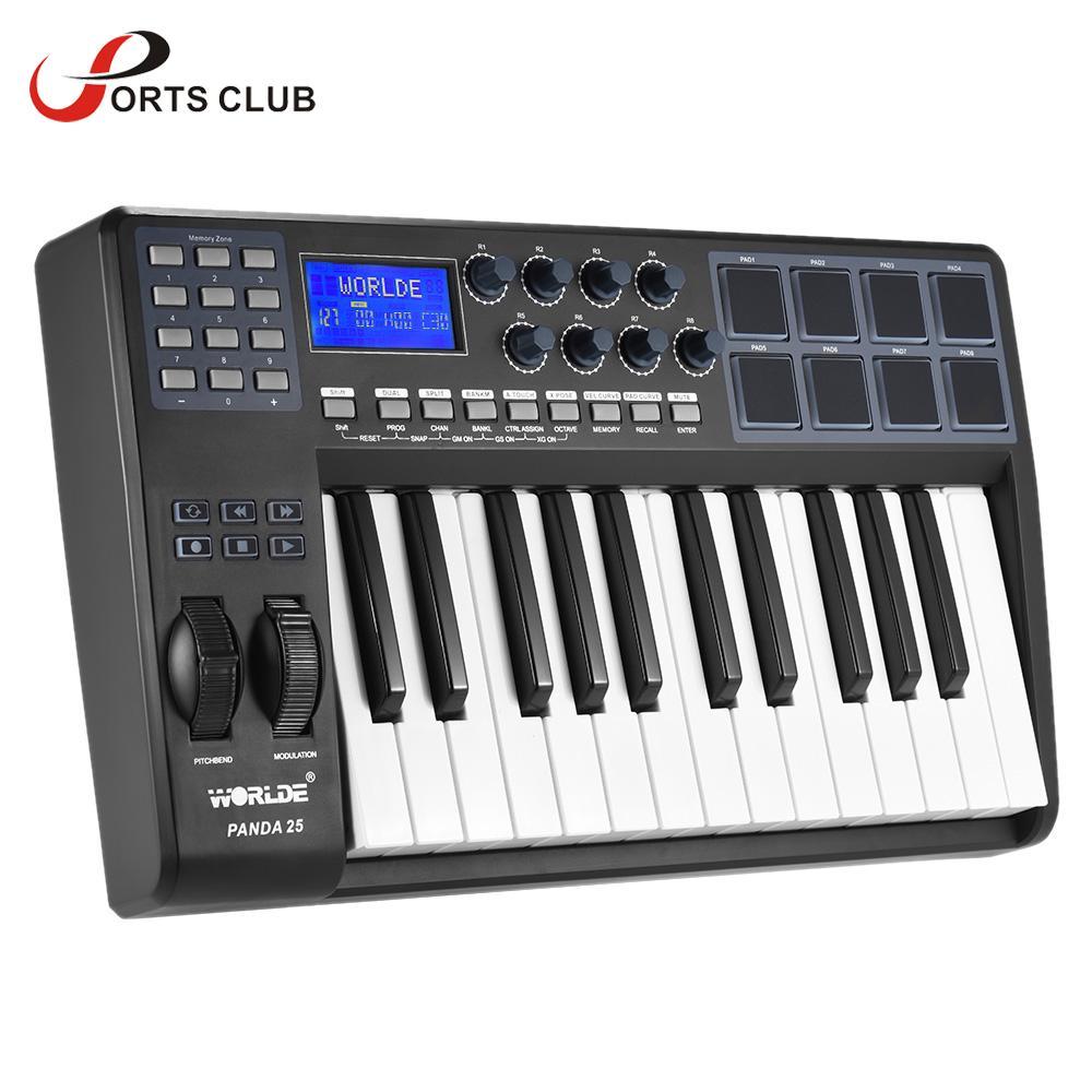 WORLDE PANDA25 25-Key Ultra-portable USB MIDI Keyboard 8 Drum Pads Controller with USB Cable(China (Mainland))