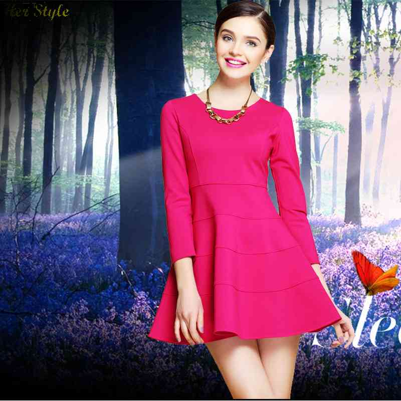 Free Shipping 2014 Spring station was long sleeve slim red green pompon dress 1430797019(China (Mainland))