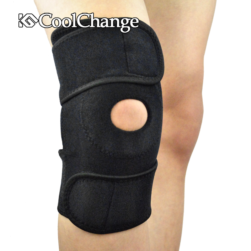 CoolChange Polyester Elatic Sports Knee Pads Knee Support Safeguards For Basketball Climbing Cycling Fitness , Blue/Black(China (Mainland))