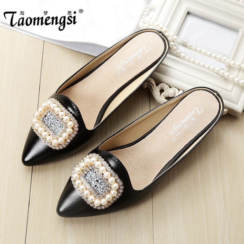 2016 fashion Luxurious flat Sandals Casual women sandal ladies flat shoes Crystal Pearls Slippers(China (Mainland))
