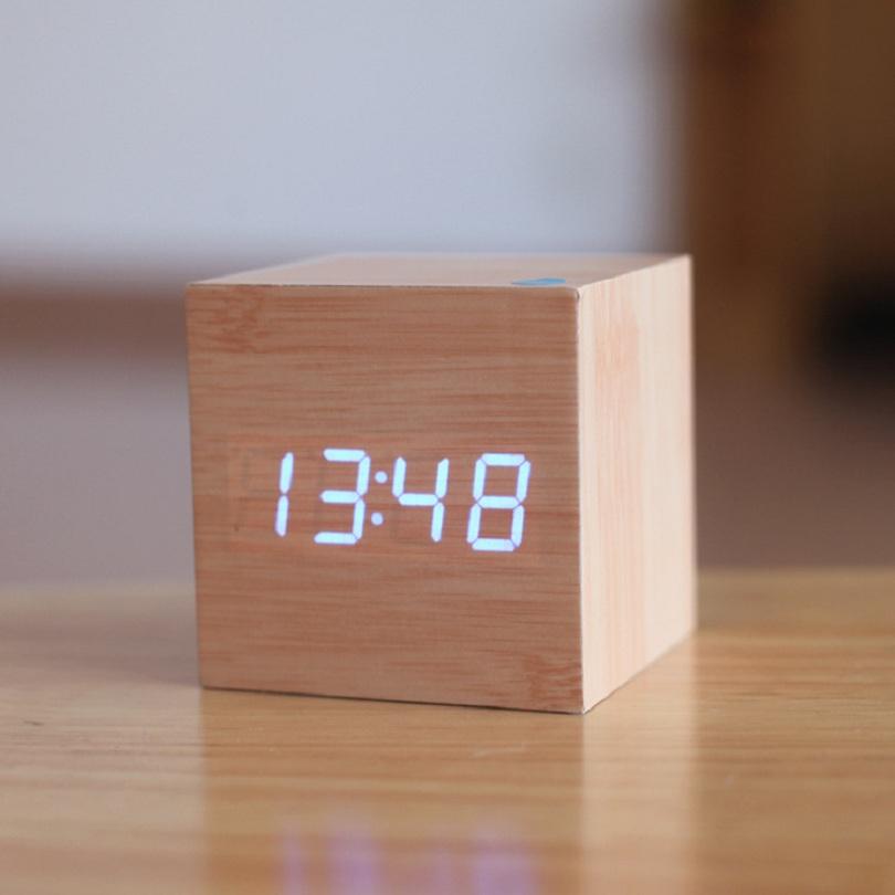 Cube LED digital Alarm Clock Square Wooden charging Clock Thermometer Temp Date clock Display reloj despertador alarm clock(China (Mainland))