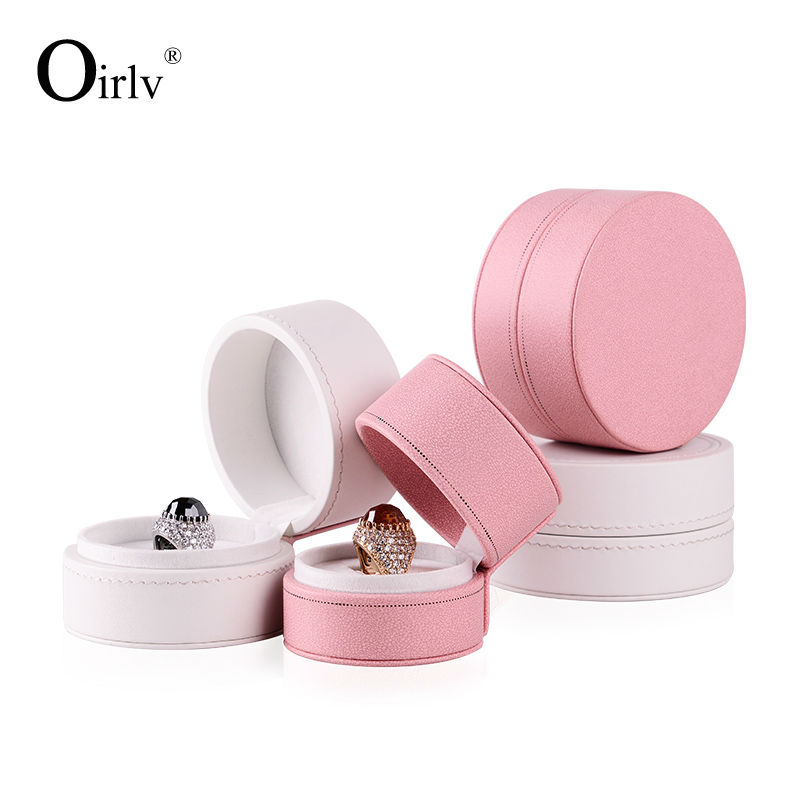 Oirlv Free Shipping Stylish Necklace Pendant Finger Ring Box Round Shape PU Leather Gift Boxes For Booth Display Exhibitor(China (Mainland))