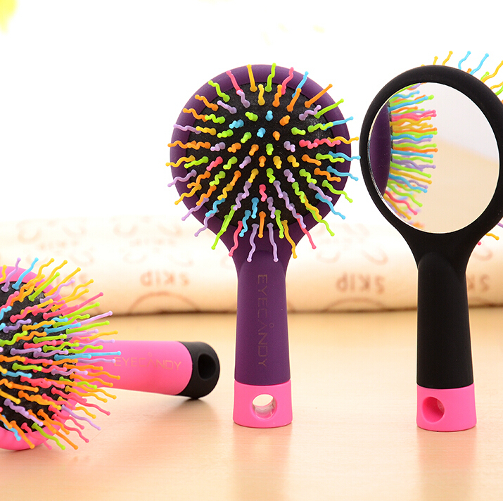 2015 Fashion Massage Brush Rainbow Volume S Brush Hair Curl Magic Accessory Perm Wave Straight Beauty Comb with Mirror(China (Mainland))