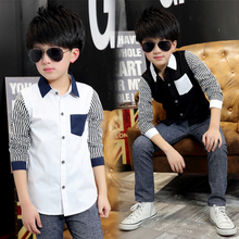 2016 Spring Kids Boys Shirts Long Sleeve Cotton Boy Shirt Casual font b Plaid b font