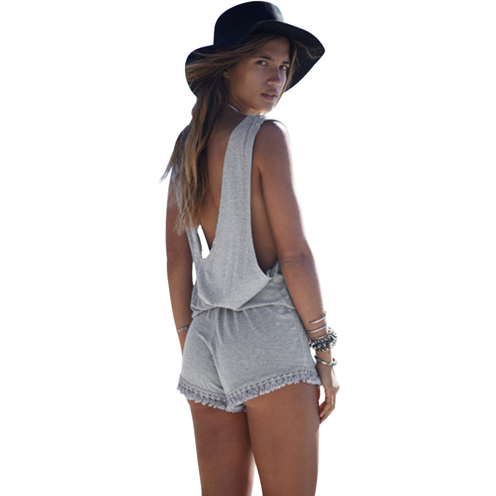 Summer Woman Jumpsuits Casual Sexy Loose Backless Tunic Tassel Sleeveless Beach Women Short Romper Playsuit Mono Overalls(China (Mainland))