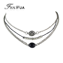 Buy FANHUA Black Pu Leather Multi Layer Chain Choker Necklace Antique Silver Color Chain Beads Pendant Choker Necklace for $1.19 in AliExpress store
