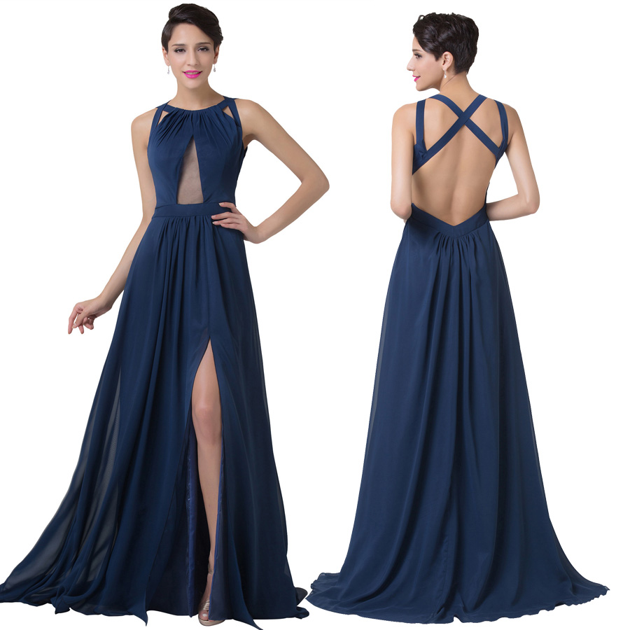 Split backless long party dress navy blue sexy see through for Navy evening dresses for weddings
