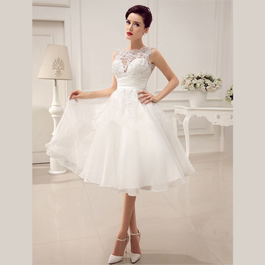 2015 cheap white lace short wedding dresses beaded