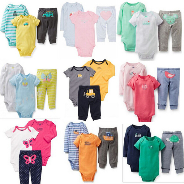 TZ-232,Original Carters Baby Clothing Set Boys Girls Sets Short/Long Sleeve Bodysuit+Pant=3Pcs Or Top+Pant =2Pcs Kids Clothes(China (Mainland))