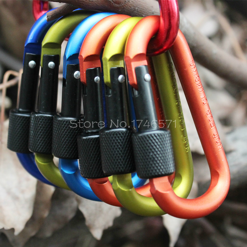 Outdoor multi colors Rock climbing Safety Buckle With Lock Aluminium Alloy Climbing Button Carabiner Camping Hiking Hook(China (Mainland))