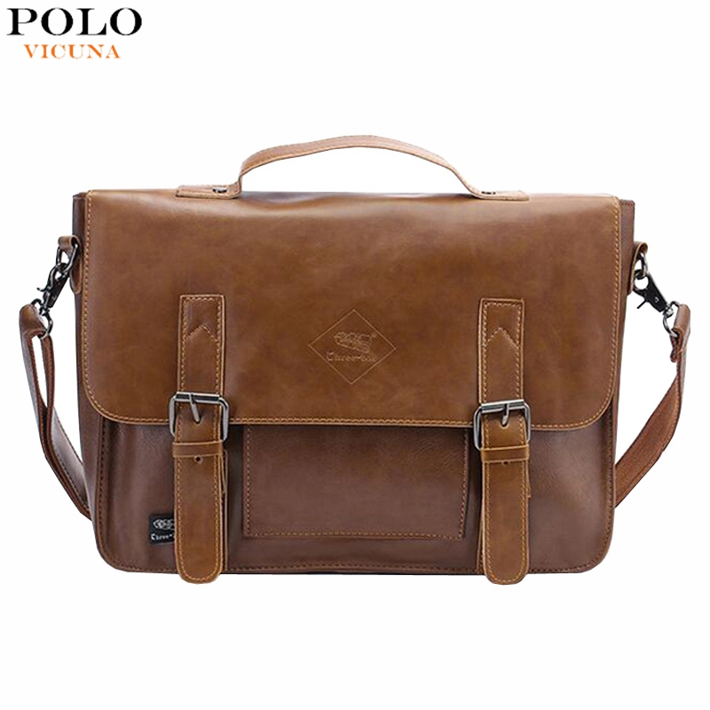 Simple Double Belt Design Leather Messenger Bags For Men England Style Vintage Mens Leather Handbag Large Briefcase Shoulder Bag<br><br>Aliexpress