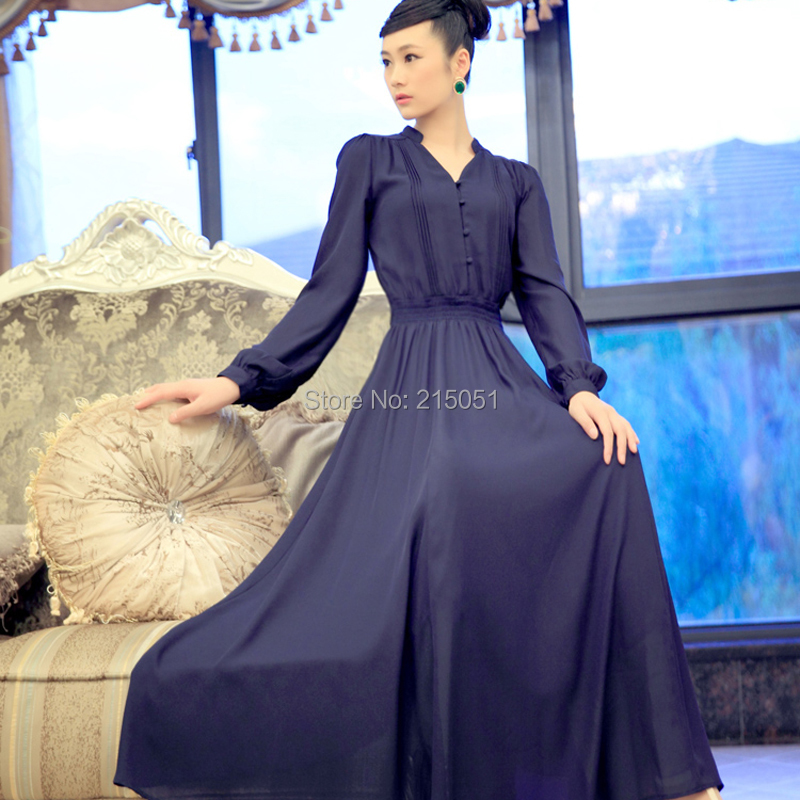 2014 spring fashion muslim islamic clothing women dubai long dress chiffon maxi mopping floor plus size - NATIONAL FASHION LADY store