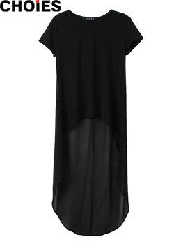 Платье прямой шифон короткая, choies женщины черный пэчворк привет-ло высокая низкая ...