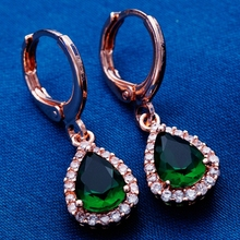 Yunkingdom Russia Women's Favorite Water Drop Earrings 18k Rose Gold Plated Dark Green Cubic Zirconia Crystal Jewelry H2107(China (Mainland))