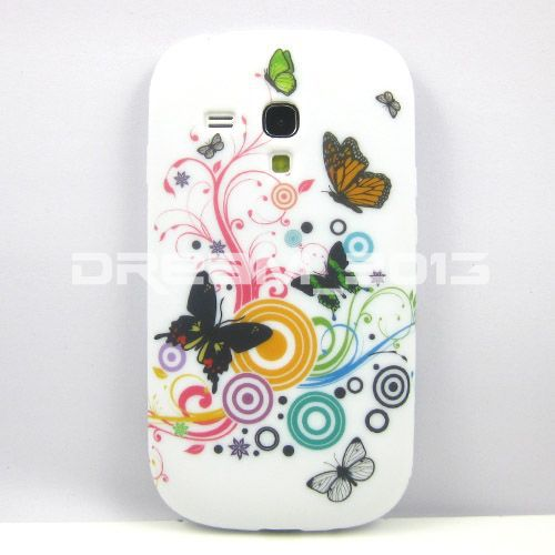 Free Shipping Colorful Circle Butterfly Flower TPU GEL Soft Silicone For Samsung Galaxy S3 mini i8190 Galaxy SIII mini case(China (Mainland))
