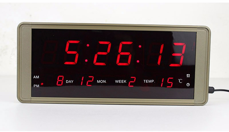 Ultra Large Display Led Digital Wall Clock Metal Case Plug For Free