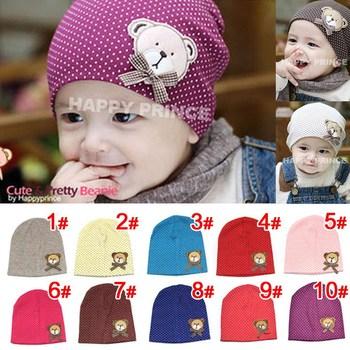 Hot Sale 10 Colors 2015 Autumn Winter Warm Cartoon Baby Beanie Spring Lovely Bear Children Cap For Boy Girl Infant Hats