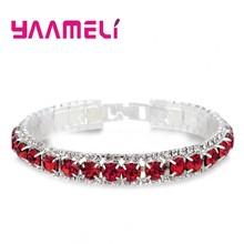 מכירה למעלה 925 כסף סטרלינג צמידי מלא AAA זירקון האוסטרי קריסטל Femme נשים קישור שרשרת תכשיטי צמידי 14 צבעים(China)