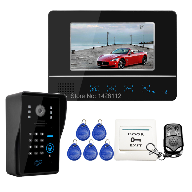 FREE SHIPPING Wired Touch Key 7 inch Lcd Home Video Door Phone Intercom System 1 Monitor 1 Number Code Keypad Camera Whole SALE(China (Mainland))