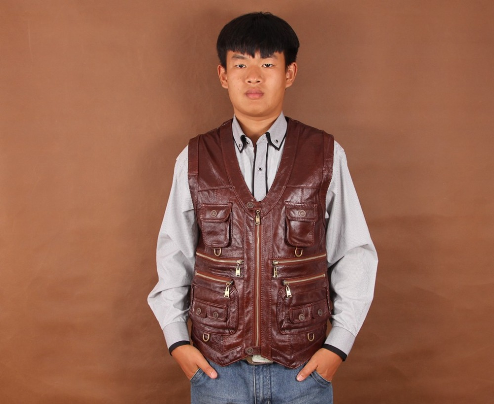 Male thick cowhide genuine leather vest fishing vestОдежда и ак�е��уары<br><br><br>Aliexpress