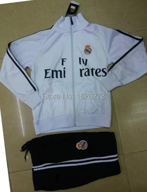 Free shipping Real Madrid Boy Soccer Training Jacket 2015 Real Madrid Football Long Sleeve Tracksuit Wind Coat Children Suit(China (Mainland))
