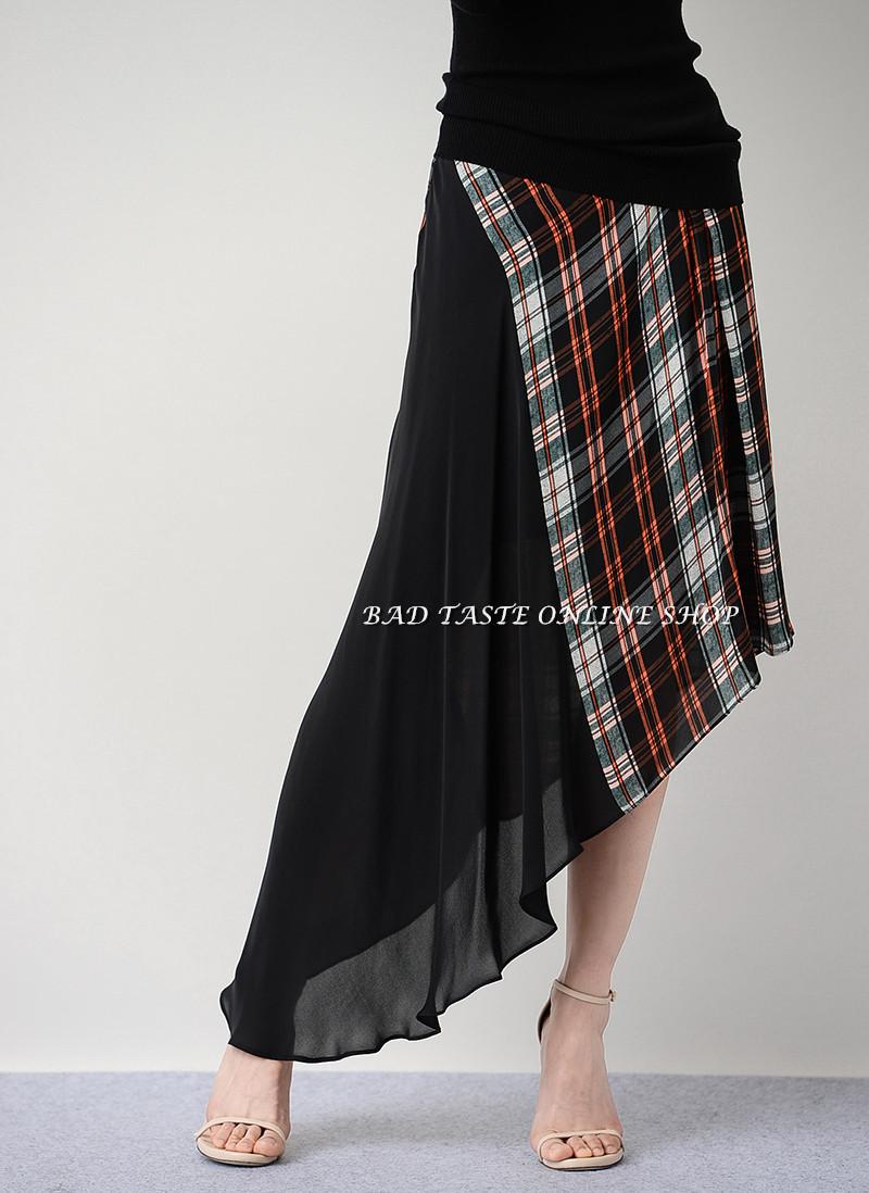 British Famous Brand Checked Panel Silk Chiffon Skirt Women's Tartan Asymetric Skirt Vintage Preppy Tricolor Plaid Stylish Skirt(China (Mainland))