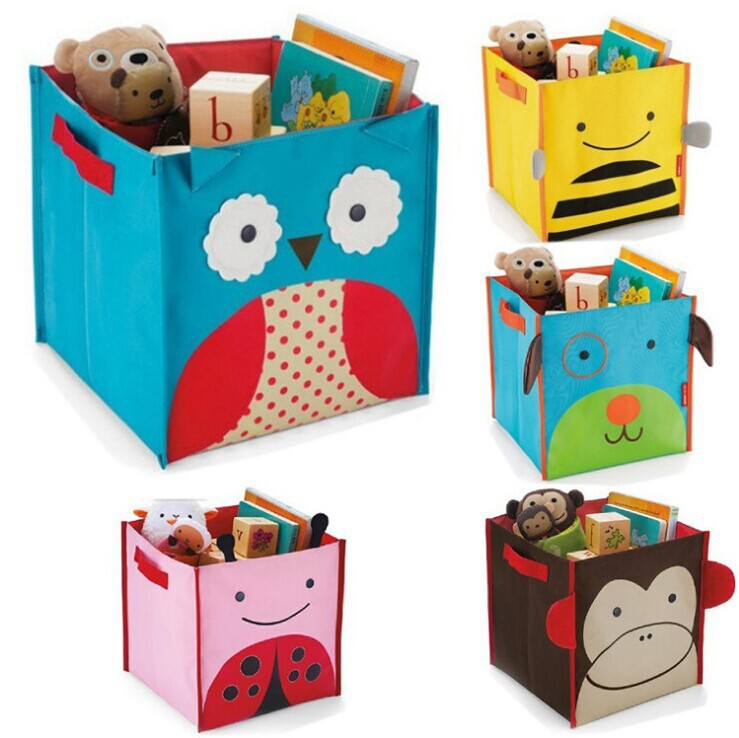 Hot sale Cartoon Style Non-Woven Fabric Toys Organizer Storage Box Children's Toy Books Sundries Shoes Clothing Storage Box(China (Mainland))