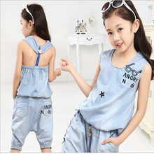 2016 Summer Girls Denim Shorts Set Fashion Denim Vest Sets Two-piece Children Denim Clothing Set For Girls(China (Mainland))